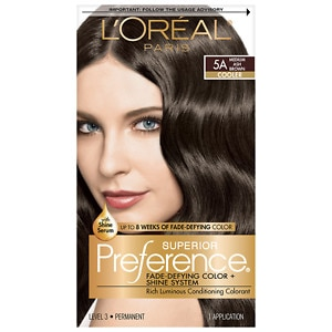 L'Oreal Paris Preference Fade Defying Color & Shine System, Permanent, Medium Ash Brown 5A