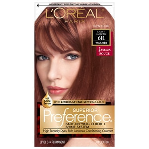 L'Oreal Paris Superior Preference Fade Defying Color & Shine System, Permanent, Light Auburn 6R- 1 ea