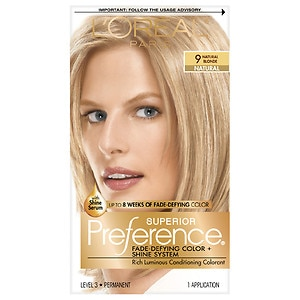 L'Oreal Paris Superior Preference Fade Defying Color & Shine System, Permanent, Natural Blonde 9- 1 ea