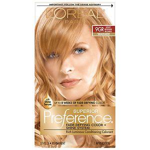 L'Oreal Paris Superior Preference Fade Defying Color & Shine System, Permanent, LT Golden Reddish Blonde 9GR