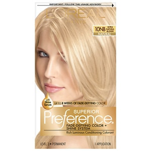 L'Oreal Paris Preference Fade Defying Color & Shine System, Permanent, Ultra Natural Blonde 10NB