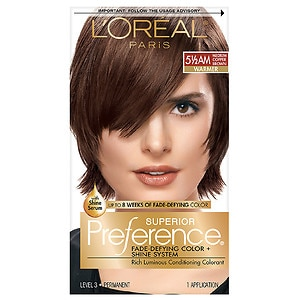 L'Oreal Paris Preference Fade Defying Color & Shine System, Permanent, Medium Amber Copper Brown 5 1/2 AM