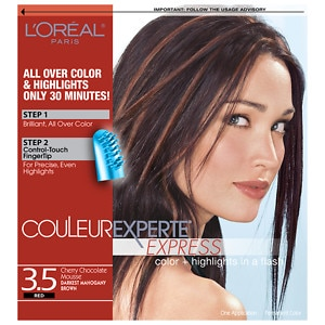L'Oreal Paris Couleur Experte Express Easy 2-in-1 Color + Highlights, Darkest Mahogany Brown Chocolate Mousse 3.5