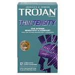 Trojan Lubricated Latex Condoms, Thintensity UltraSmooth- 12 ea