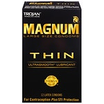 Trojan Magnum Lubricated Latex Condoms, Thin, Large