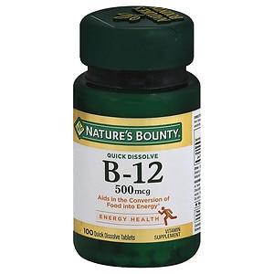 Nature's Bounty B-12 500mcg Microlozenges, Cherry- 100 ea