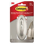 Command Strips Damage-Free Hanging:  Decorative  Large Hook, Brushed Nickel, 1 hook/2 large strips