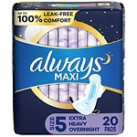 Always Maxi Pads with Wings, Unscented, Overnight Extra Heavy- 20 ea