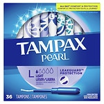Tampax Pearl Tampons with Plastic Applicator, Lite, 36 ea