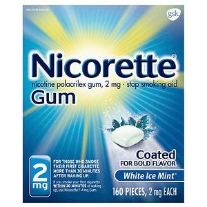 Nicorette Nicotine Gum, 2mg, White Ice Mint- 160 ea