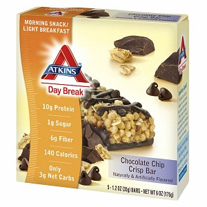 Atkins Day Break Snack Bars, 5 pk, Chocolate Chip, 1.3 oz