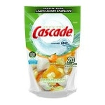 Cascade 2-in-1 ActionPacs with Dawn Dishwasher Detergent, Citrus Breeze- 20 Each