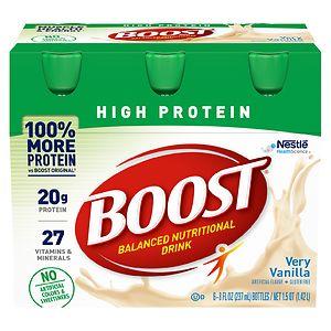 Boost High Protein Complete Nutritional Drink, Very Vanilla, 8 oz Bottles, 6 pk- 8 oz