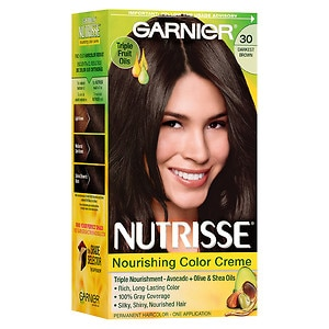 Garnier Nutrisse Permanent Haircolor, Darkest Brown 30 (Sweet Cola)