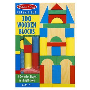 Melissa and Doug 100 Wood Blocks Set, Ages 3+- 1 ea