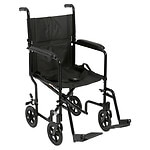 Drive Medical Lightweight Transport Wheelchair, Black- 1 ea