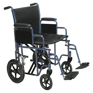 Drive Medical Bariatric Heavy Duty Transport Wheelchair with Swing Away Footrest, 20 Inch, Blue, 1 ea