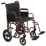 Drive Medical Bariatric Heavy Duty Transport Wheelchair with Swing Away Footrest, Red, 20 Inch- 1 ea