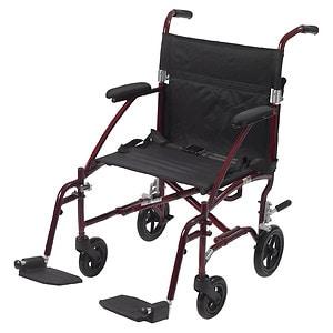 Drive Medical Fly Lite Ultra Lightweight Transport Wheelchair, Red