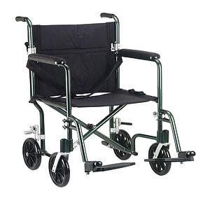 Drive Medical Flyweight Lightweight Transport Wheelchair, Green Frame/Black Upholstery