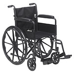 Drive Medical Silver Sport 1 Wheelchair with Full Arms and Swing away Removable Footrest, 18 inch- 1 ea