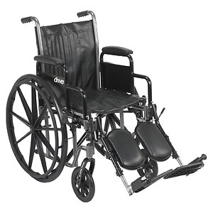 Drive Medical Silver Sport 2 Wheelchair with Detachable Desk Arms and Elevating Leg Rest, 18 inch