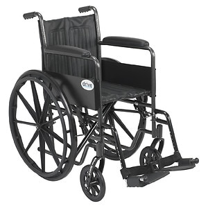 Drive Medical Silver Sport 2 Wheelchair with Swing Away Footrest, 18 inch- 1 ea