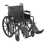 Drive Medical Silver Sport 2 Wheelchair with Detachable Desk Arms and Elevating Leg Rest, 20 inch- 1 ea
