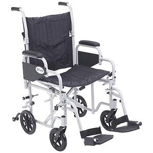 Drive Medical Poly Fly Light Weight Transport Chair Wheelchair with Swing away Footrest, 20 Inch