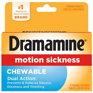 Dramamine Chewable Formula Tablets, Orange- 8 ea