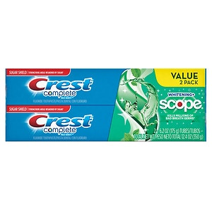 Crest Complete Multi-Benefit Whitening + Scope Toothpaste, Minty Fresh- 2 ea