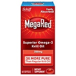 Schiff MegaRed Omega 3 Krill Oil 350 mg Dietary Supplements, Softgels- 60 ea