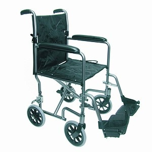 Duro-Med Ultra Lightweight Aluminum Transport Chair, Titanium, 19 Inch