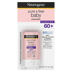 Neutrogena Pure & Free Baby Sunscreen Stick SPF 60+, Stick- .47 oz
