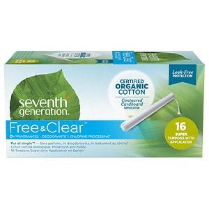 Seventh Generation Chlorine-Free Organic Applicator Tampon, Super- 16 ea