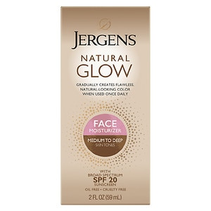 Jergens Natural Glow FACE Daily Moisturizer Sunscreen, Medium to Tan Skin Tone, 2 fl oz