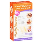 Sally Hansen Hair Remover Wax Strip Kit For Face, Eyebrows & Bikini Area