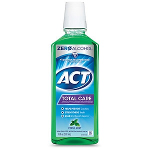 ACT Total Care Anticavity Fluoride Mouthwash, Fresh Mint- 18 fl oz