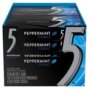 Five Sugarfree Gum, Cobalt Cooling Peppermint, 10 pk