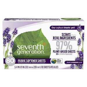 Seventh Generation Natural Fabric Softener Sheets, Blue Eucalyptus & Lavender- 80 ea