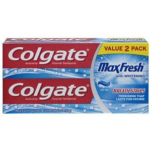 Colgate MaxFresh Fluoride Toothpaste, 2 pk, Cool Mint- 6 oz