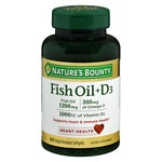 Nature's Bounty Fish Oil + D3, 1200mg & 1000 IU, Softgels- 90 ea