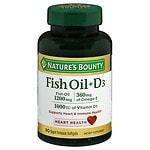 Nature's Bounty Fish Oil + D3, 1200mg & 1000 IU, Softgels- 90 ea