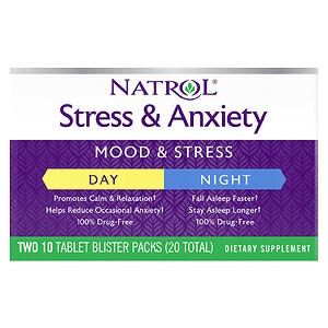 Natrol Stress & Anxiety Day & Nite, Tablets- 20 ea