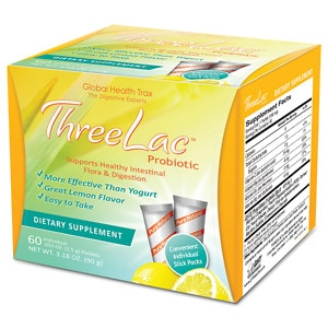 Global Health Trax ThreeLac Probiotic Dietary Supplement, Lemon, 60 packets