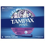 Tampax Pearl Tampons with Pearl Plastic Applicator, Unscented, Ultra, 36 ea