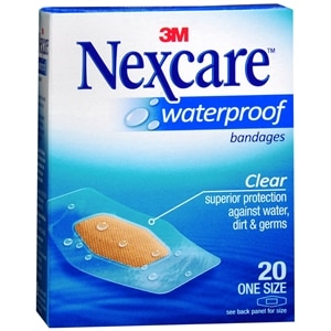 Nexcare Waterproof Clear Bandages 1 1/16in x 2 1/4in, 20 ea