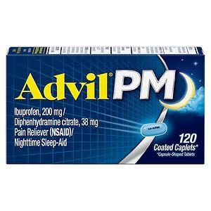 Advil PM Caplets Pain Reliever (NSAID)/Nighttime Sleep-Aid- 120 ea