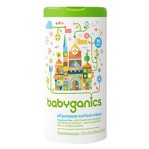 Babyganics All Purpose Surface Wipes, Fragrance Free- 75 ea