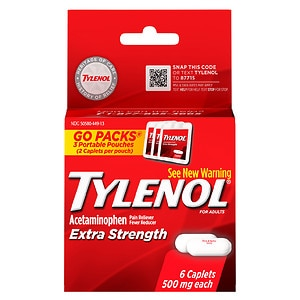 TYLENOL Extra Strength Go Packs, Extra Strength- 6 ea